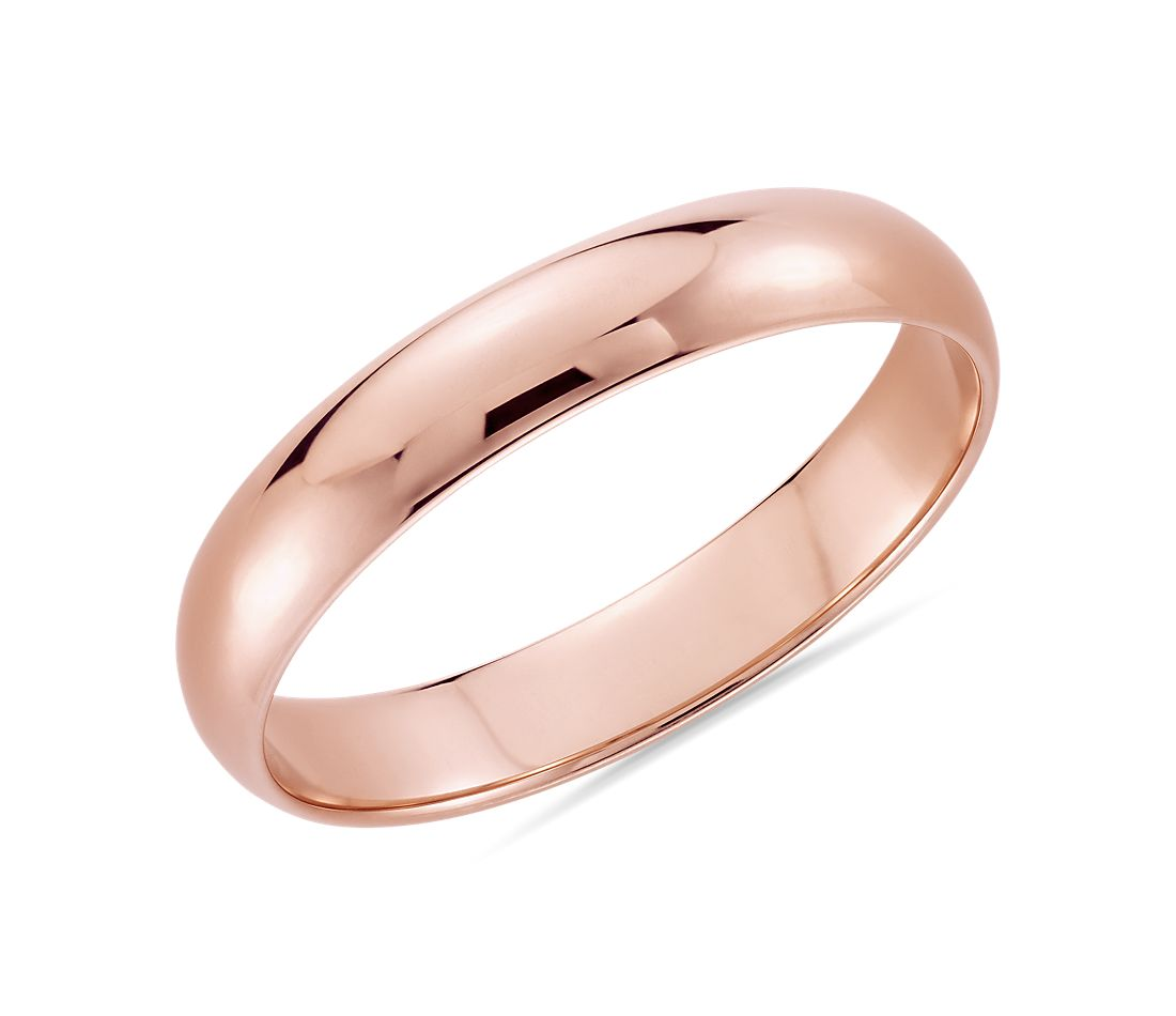 Rose Gold Wedding Ring.Classic Wedding Ring In 14k Rose Gold 4mm