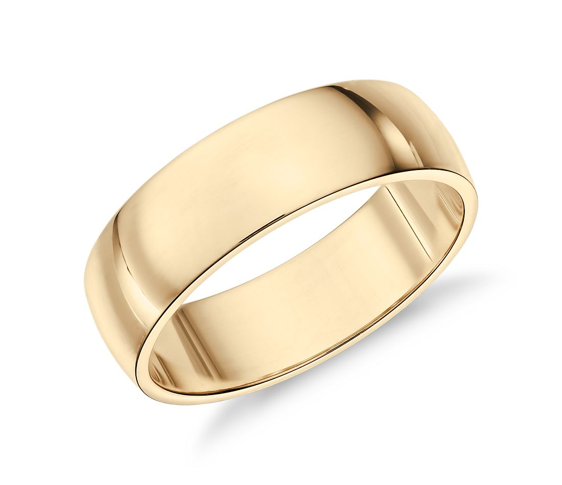 classic wedding ring in 14k yellow gold 6mm - Classic Wedding Rings