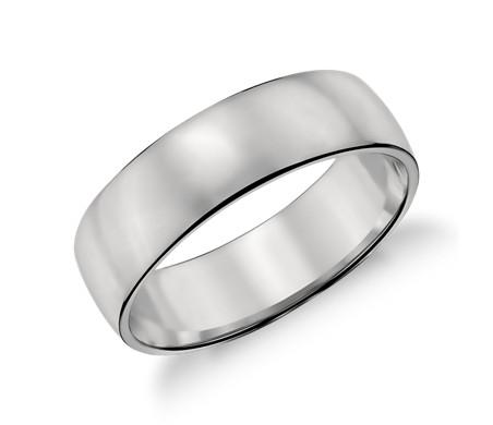 铂金经典结婚戒指<br>(6毫米)