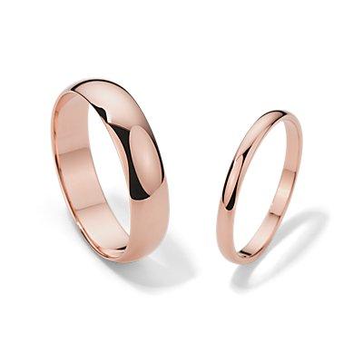 Classic Wedding Ring Set in 14k Rose Gold