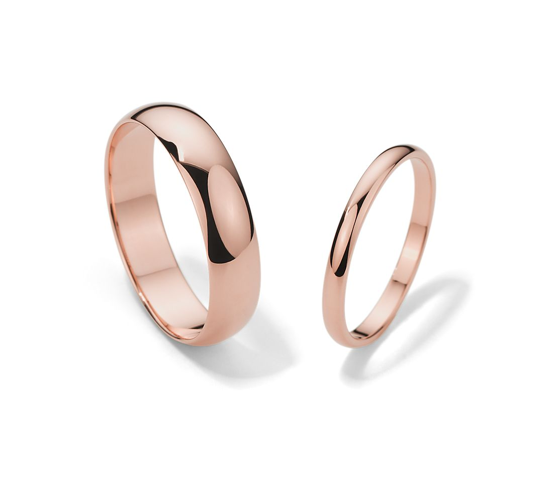 Classic Wedding Ring Set In 14k Rose Gold Blue Nile