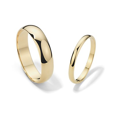 Classic Wedding Ring Set in 14k Yellow Gold