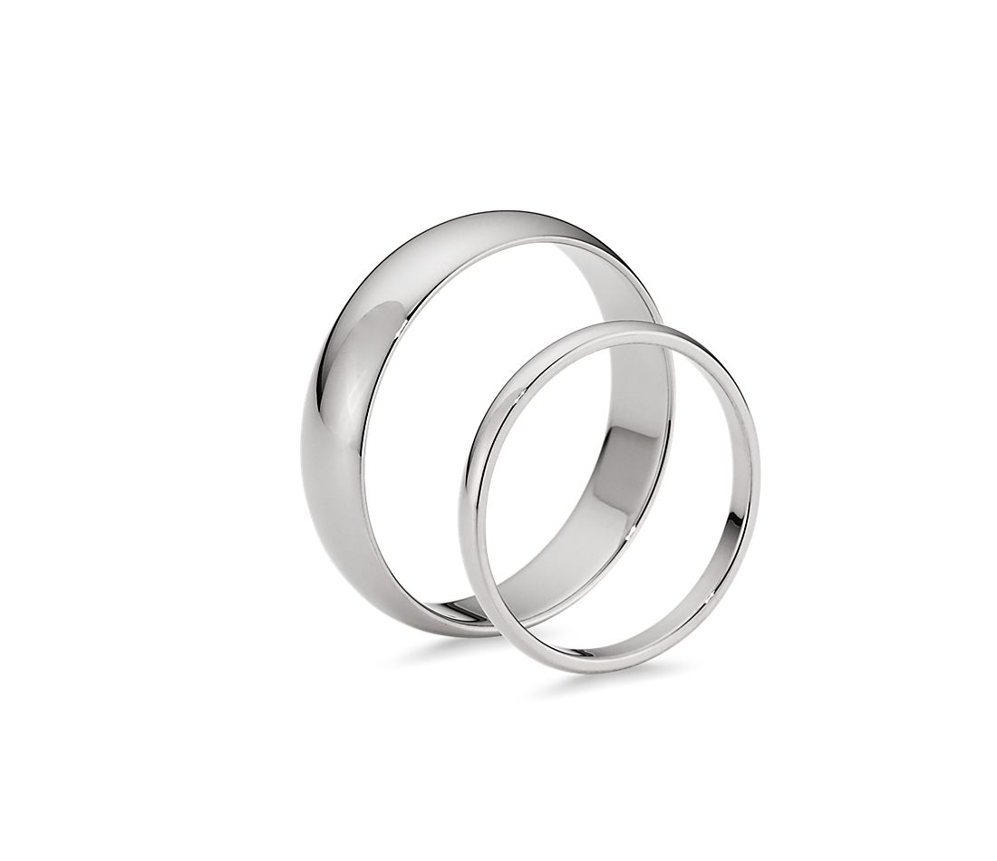 Side profile view of two complementary rings side by side