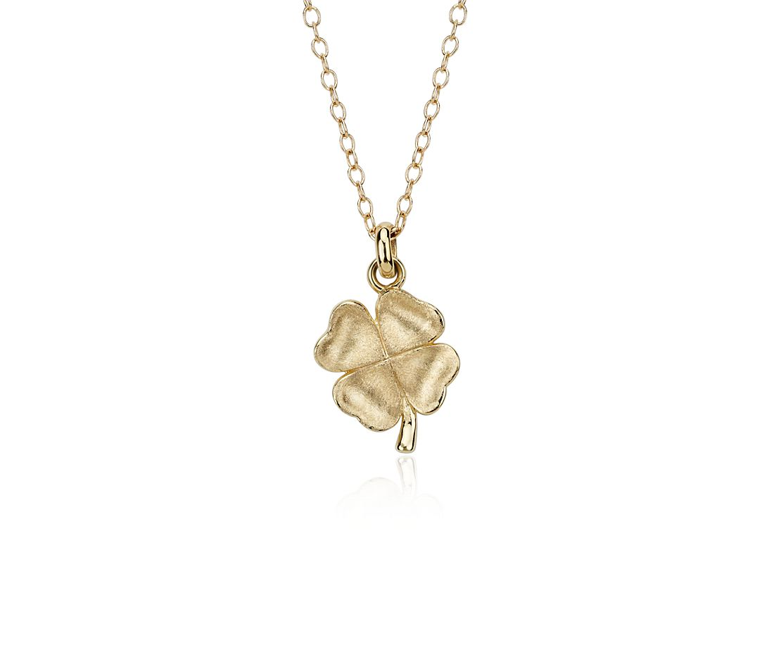 Clover Pendant in 14k Satin Yellow Gold