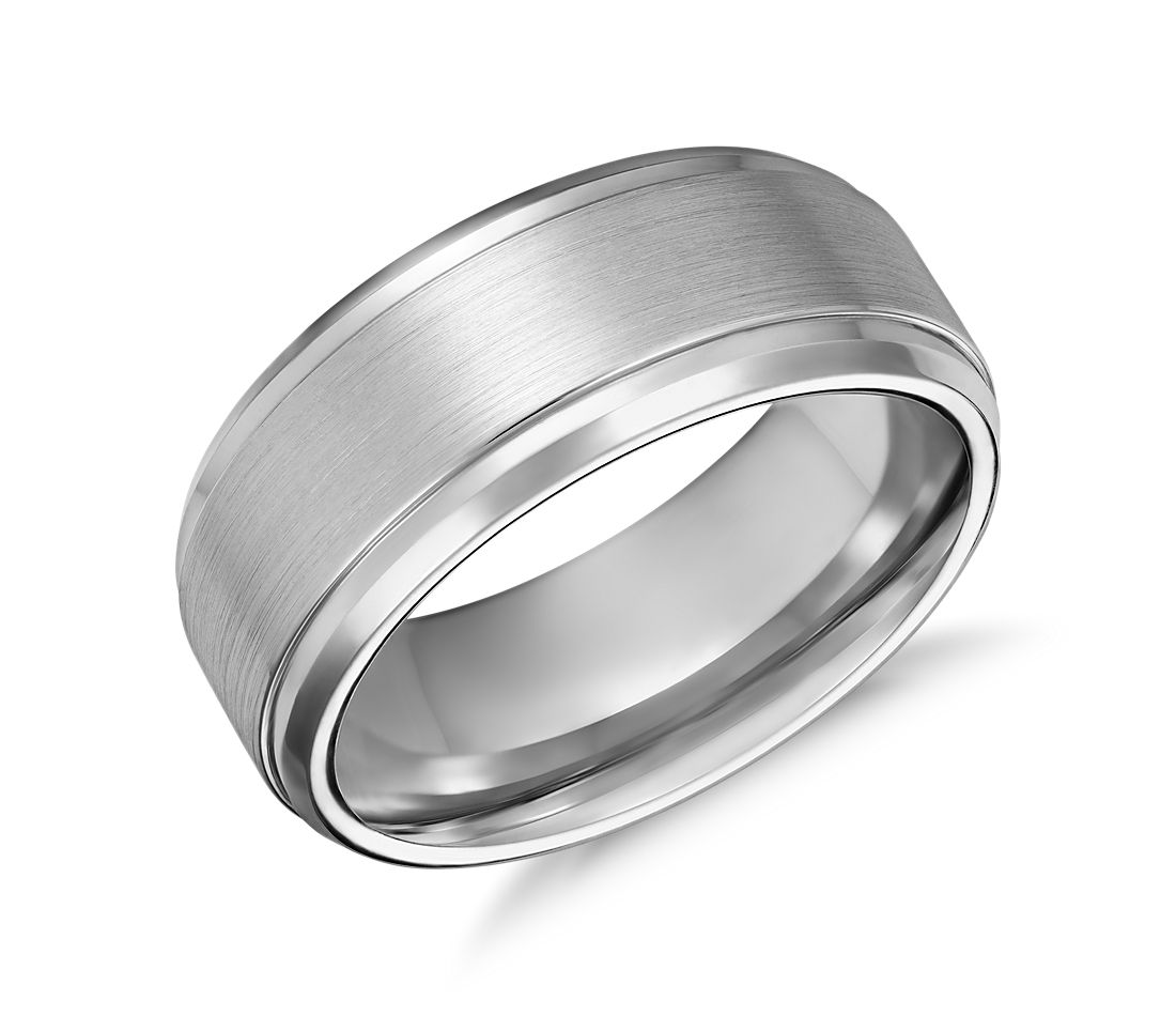 satin finish wedding ring in cobalt 9mm - Cobalt Wedding Rings