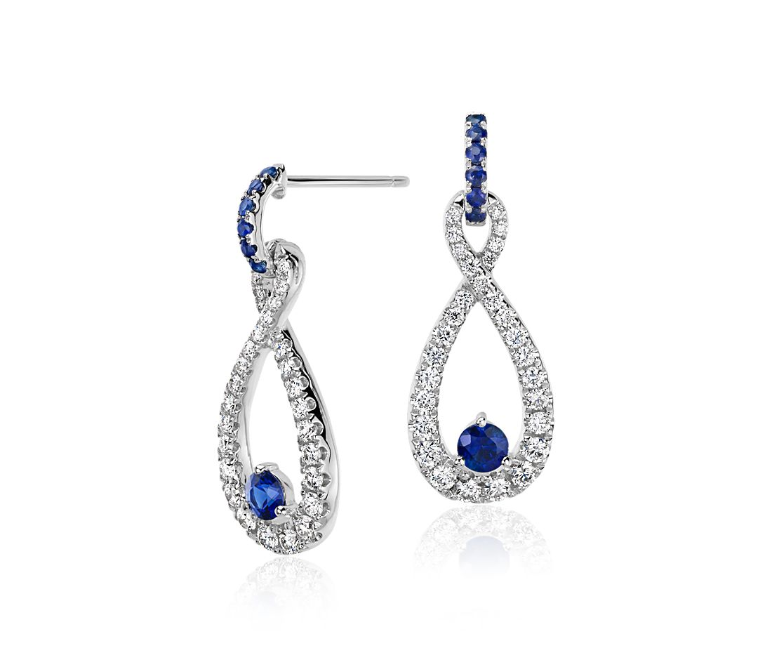 Colin Cowie Sapphire and Diamond Infinity Drop Earrings in 14k White Gold