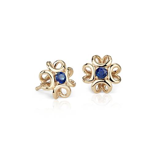 Colin Cowie Sapphire Stud Earring In 14k Yellow Gold 3mm