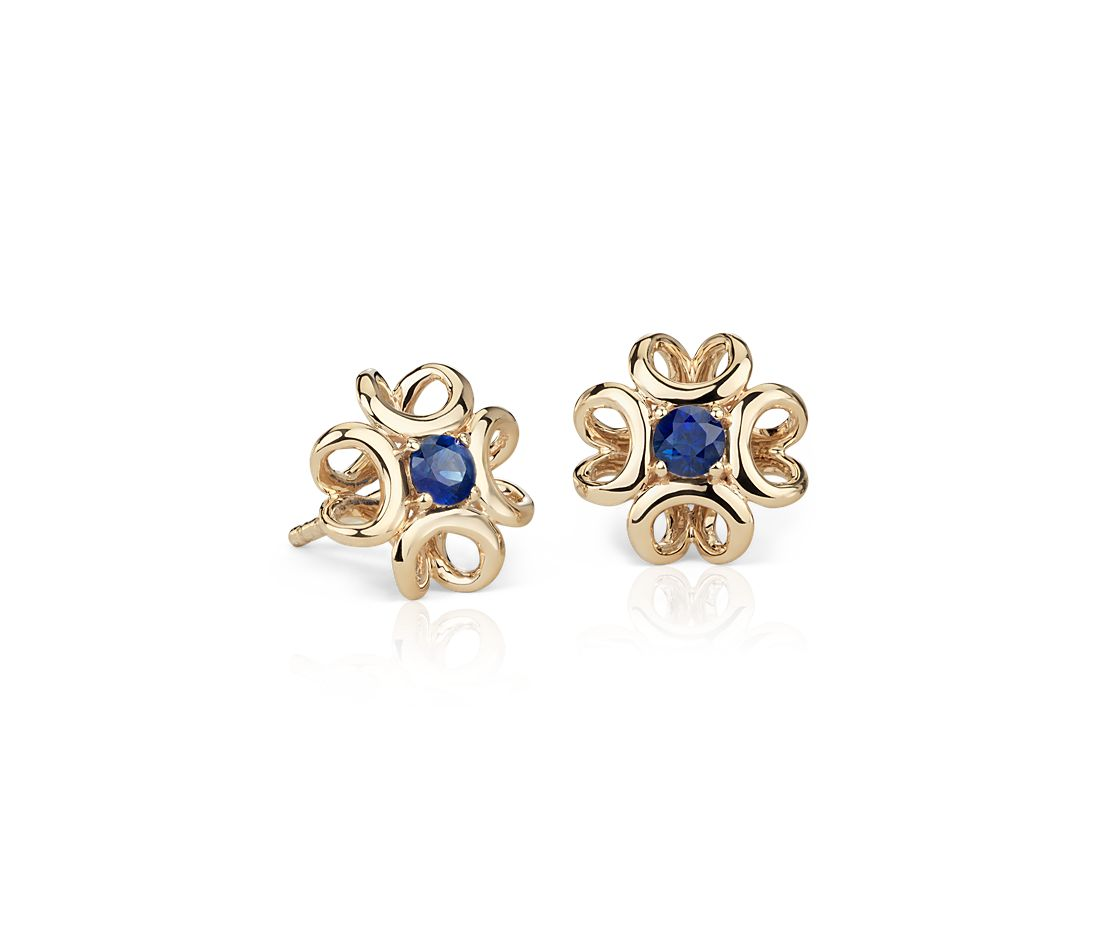 Colin Cowie Sapphire Stud Earring in 14k Yellow Gold