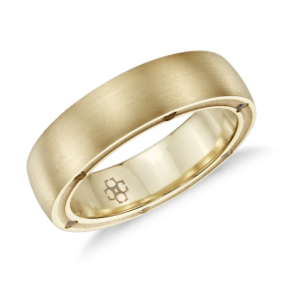Colin Cowie Mens Brushed Diamond Wedding Ring in 18k Yellow Gold