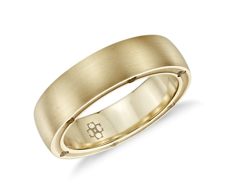 Colin Cowie Men's Brushed Diamond Wedding Ring in 18k Yellow Gold (6mm)