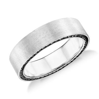 Colin Cowie Black Diamond Edge Wedding Ring in 14k White Gold 7mm