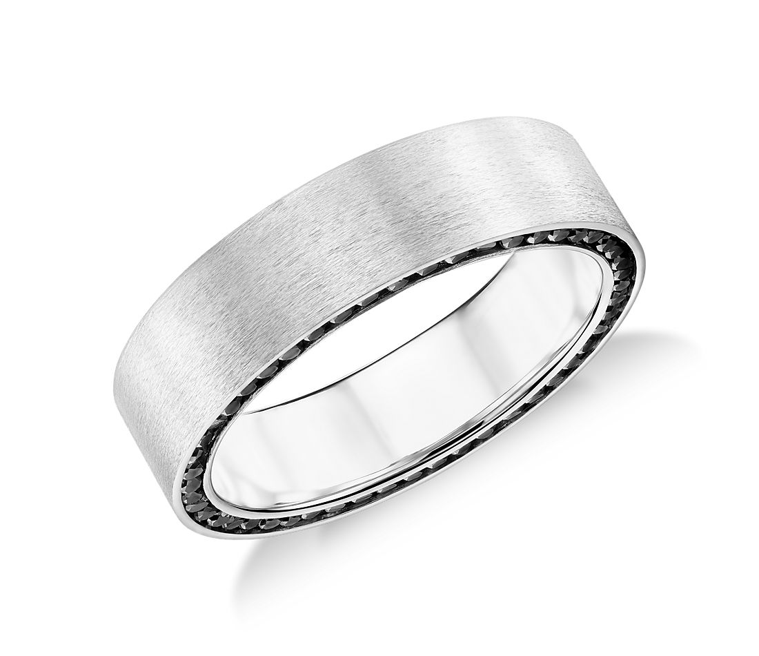 colin cowie black diamond edge wedding ring in 14k white gold 7mm - Black Diamond Wedding Ring Set