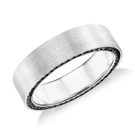 Colin Cowie Black Diamond Edge Wedding Ring in 18k White Gold (6mm)