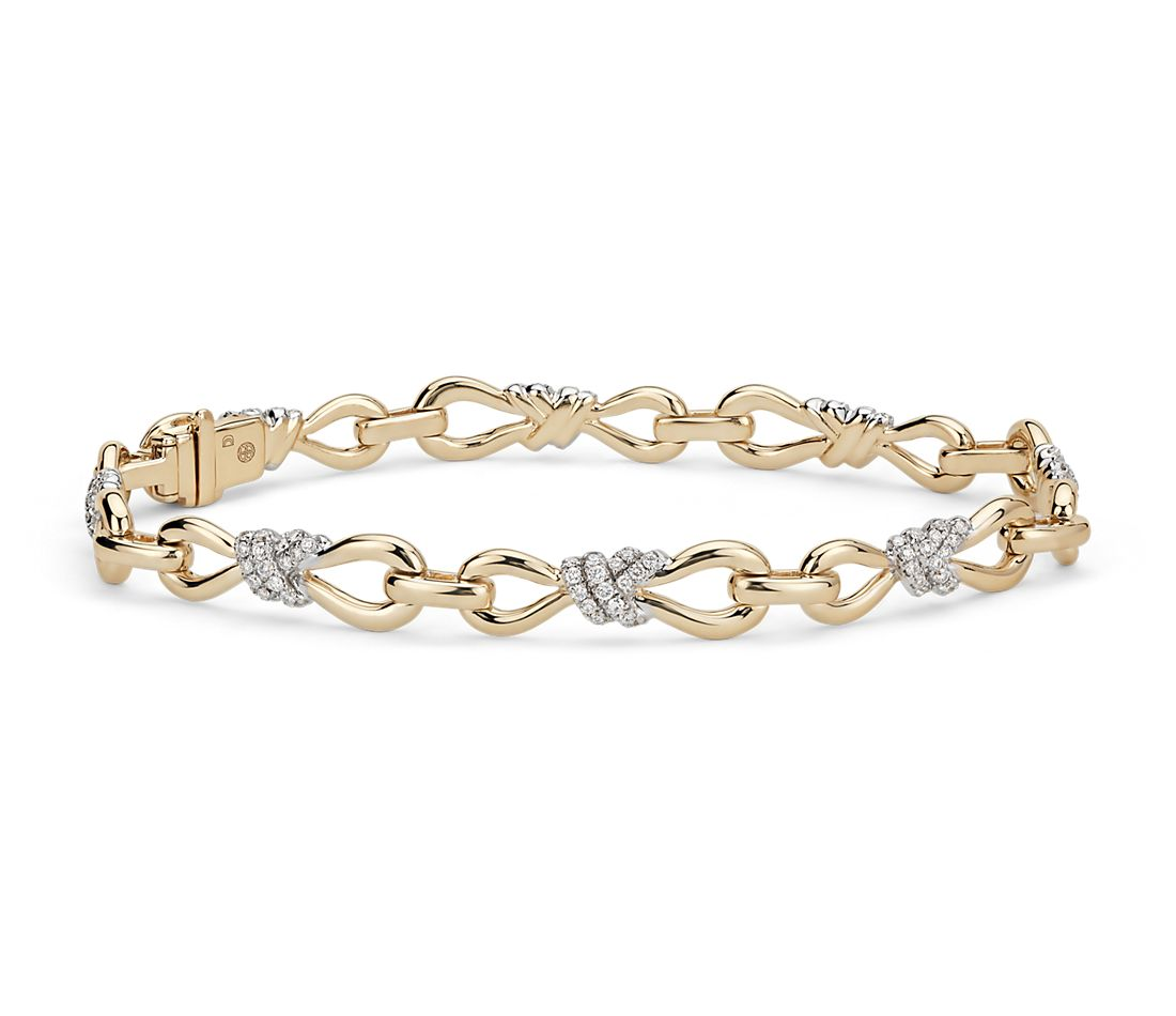 Colin Cowie Diamond Infinity Bracelet in 14k Yellow Gold ...
