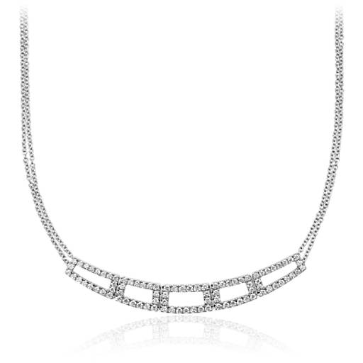 diamond geometric necklace in 14k white gold 1 ct tw