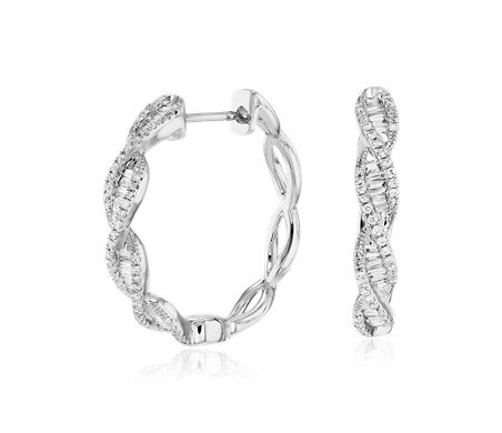Colin Cowie Diamond Twist Hoop Earring In 14k White Gold 3 4 Ct