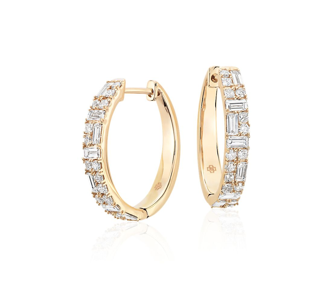 Colin Cowie Dot Dash Hoop Earrings in 14k Yellow Gold
