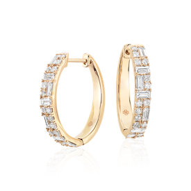 Colin Cowie Dot Dash Hoop Earrings 14k Yellow Gold