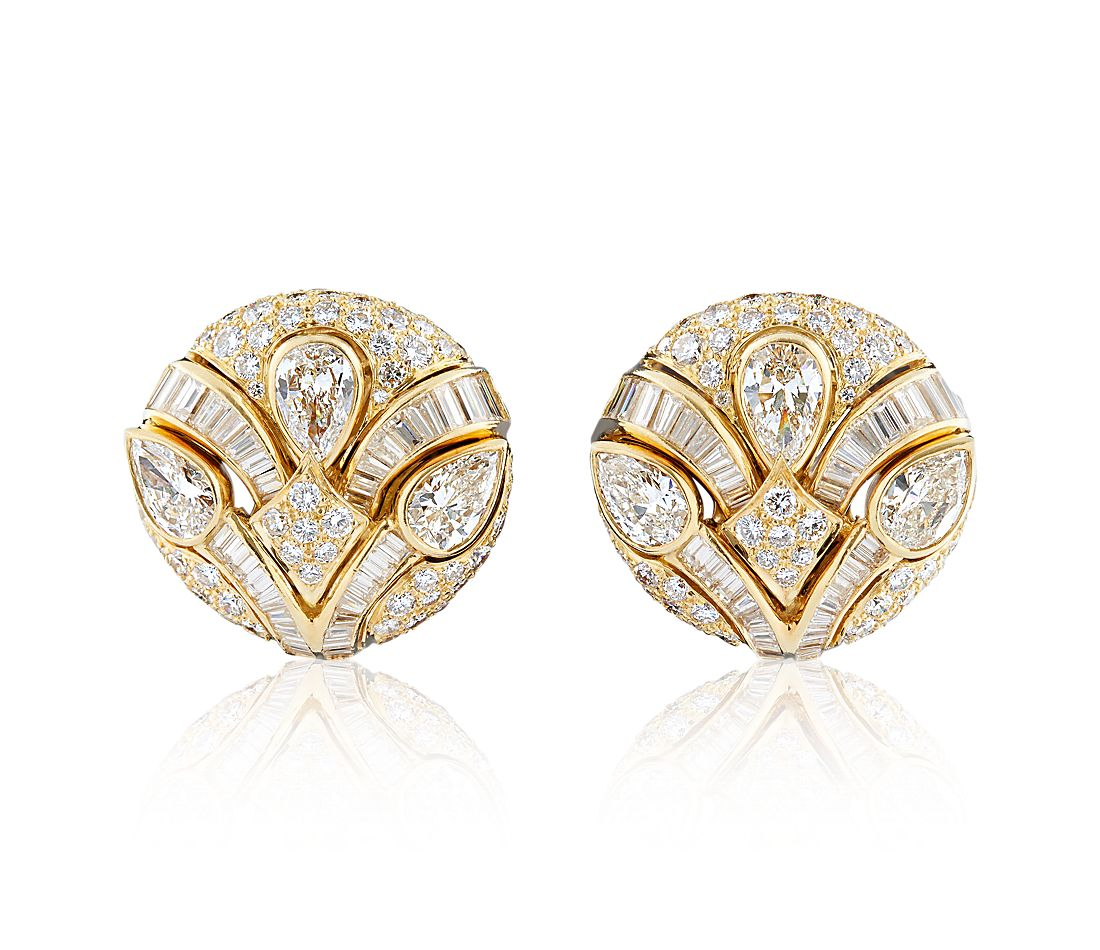 Estate Diamond Button Earrings in 18k Yellow Gold (11.83 ct. tw.)