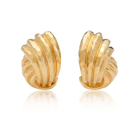 Estate Vintage Hammered Knot Earrings in 18k Yellow Gold