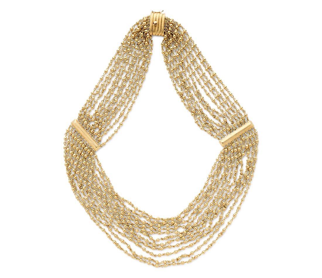 Estate Multi-Strand Beaded Necklace in 18k Yellow Gold