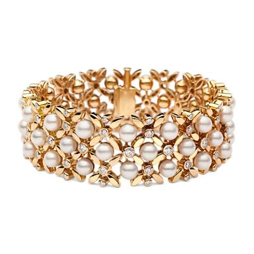Estate Vintage Akoya Cultured Pearl And Diamond Bracelet