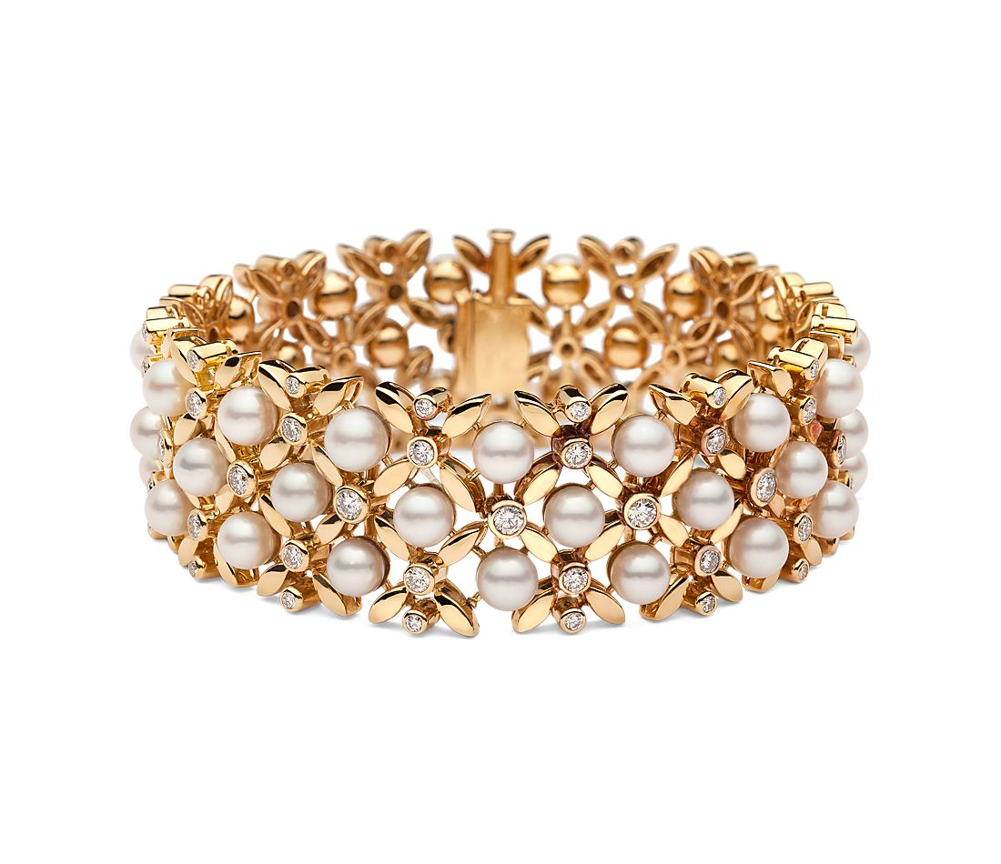 Estate Vintage Akoya Cultured Pearl and Diamond Bracelet in 18k Yellow Gold (2.37 ct. tw.)