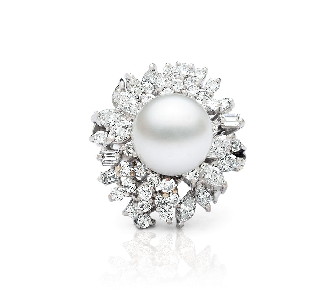 Estate Vintage Akoya Pearl & Diamond Ring in 14k White Gold (2.88 ct. tw.)