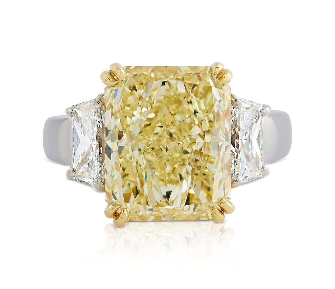 Estate Fancy Light Yellow Diamond Ring in Platinum and 18k Yellow Gold (9.72 ct. tw.)