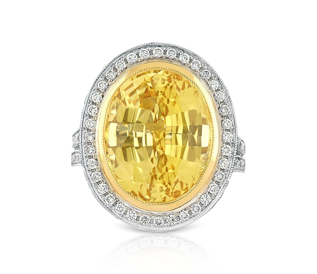 Estate Natural Yellow Sapphire and Diamond Cocktail Ring in Platinum (14.95 ct. tw.)