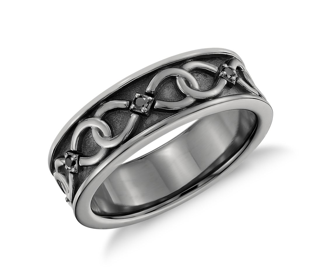 Colin Cowie Black Diamond Infinity Wedding Ring in Platinum with Black Rhodium (7mm)