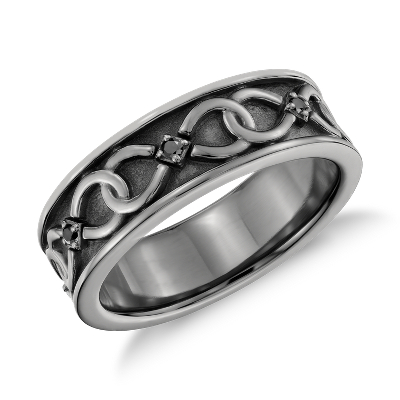Colin Cowie Black Diamond Infinity Wedding Ring in Platinum with