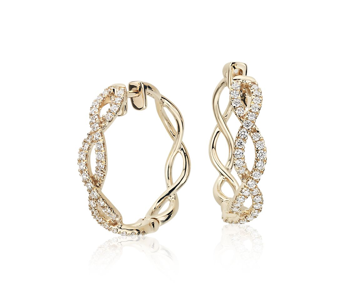 Colin Cowie Eternal Twist Diamond Hoop Earrings In 14k Yellow Gold 1 2 Ct Tw