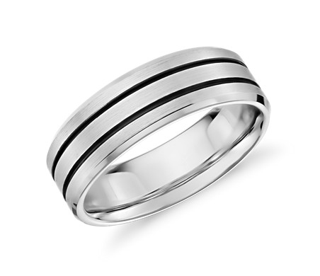 Colin Cowie Black Ceramic Inlay Wedding Ring in Platinum (7mm)
