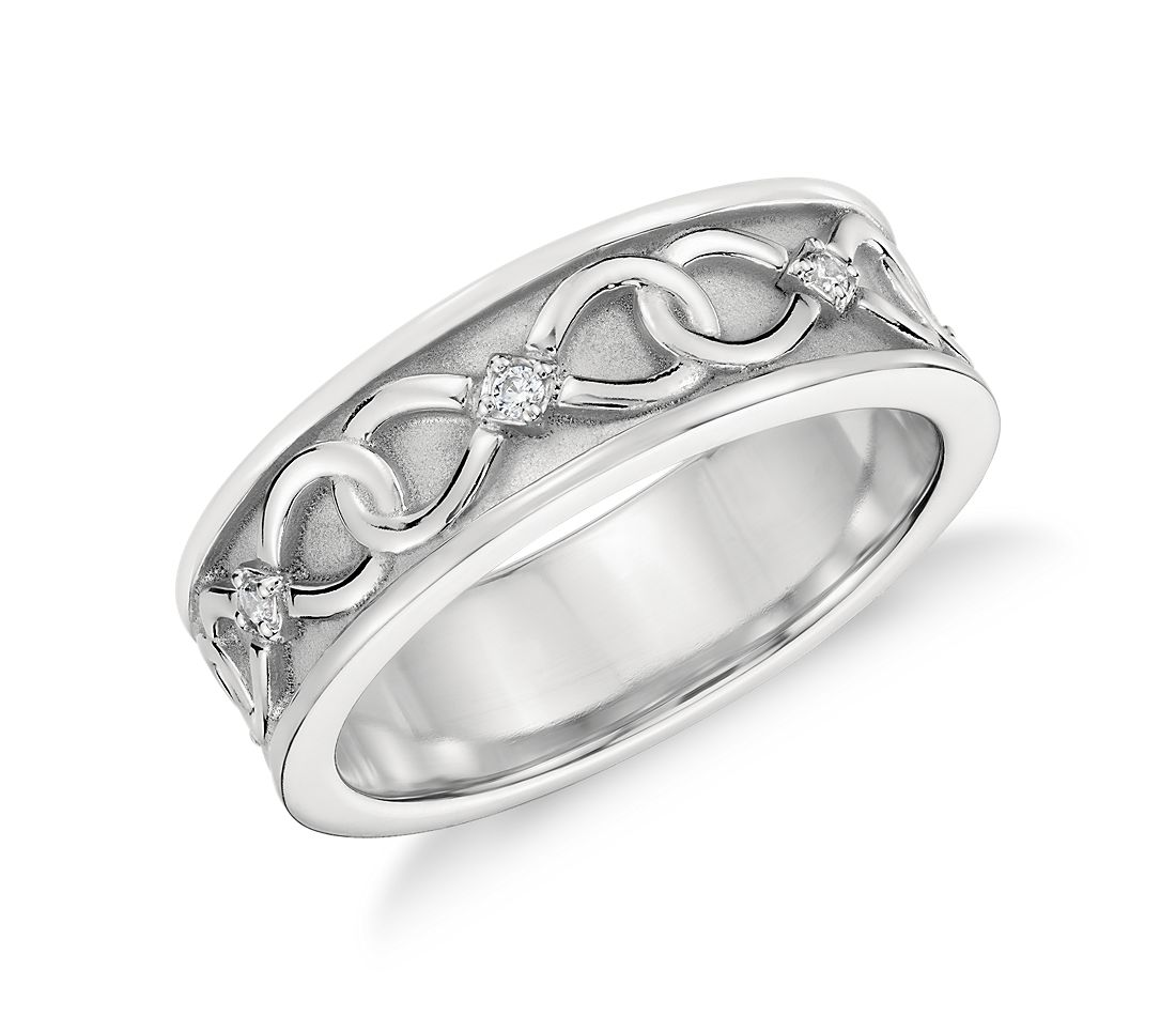 colin cowie mens diamond ring platinum infinity wedding band Colin Cowie Diamond Infinity Wedding Ring in Platinum 7mm