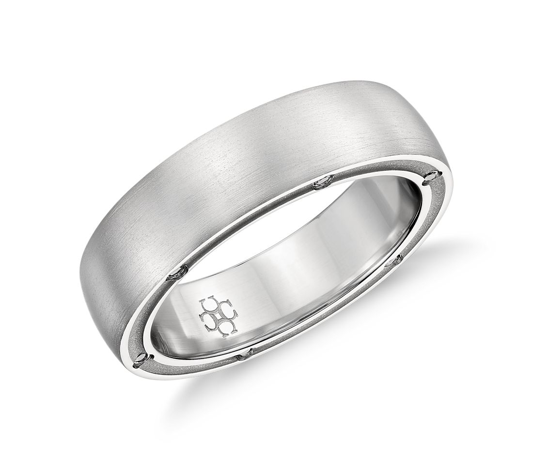 Colin Cowie Brushed Diamond Wedding Ring In Platinum 6mm