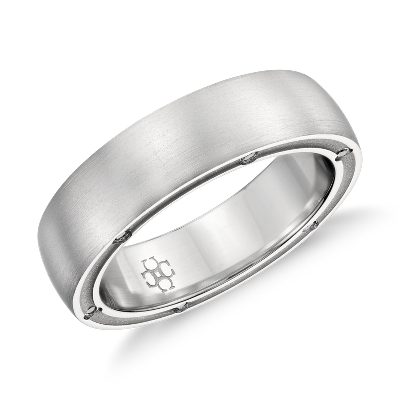 Colin Cowie Brushed Diamond Wedding Ring in Platinum 6mm Blue Nile