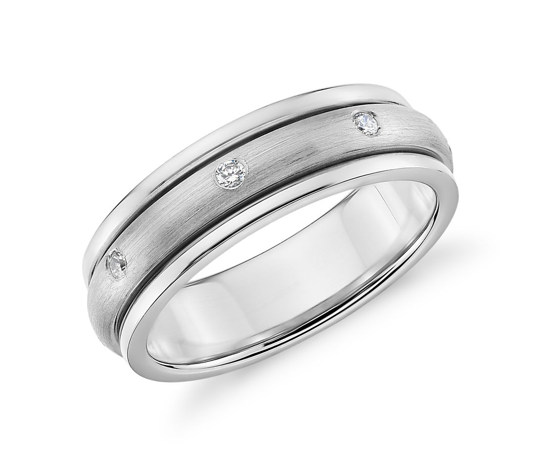 Colin Cowie Matte Diamond Rolling Wedding Ring in Platinum (6.5mm)