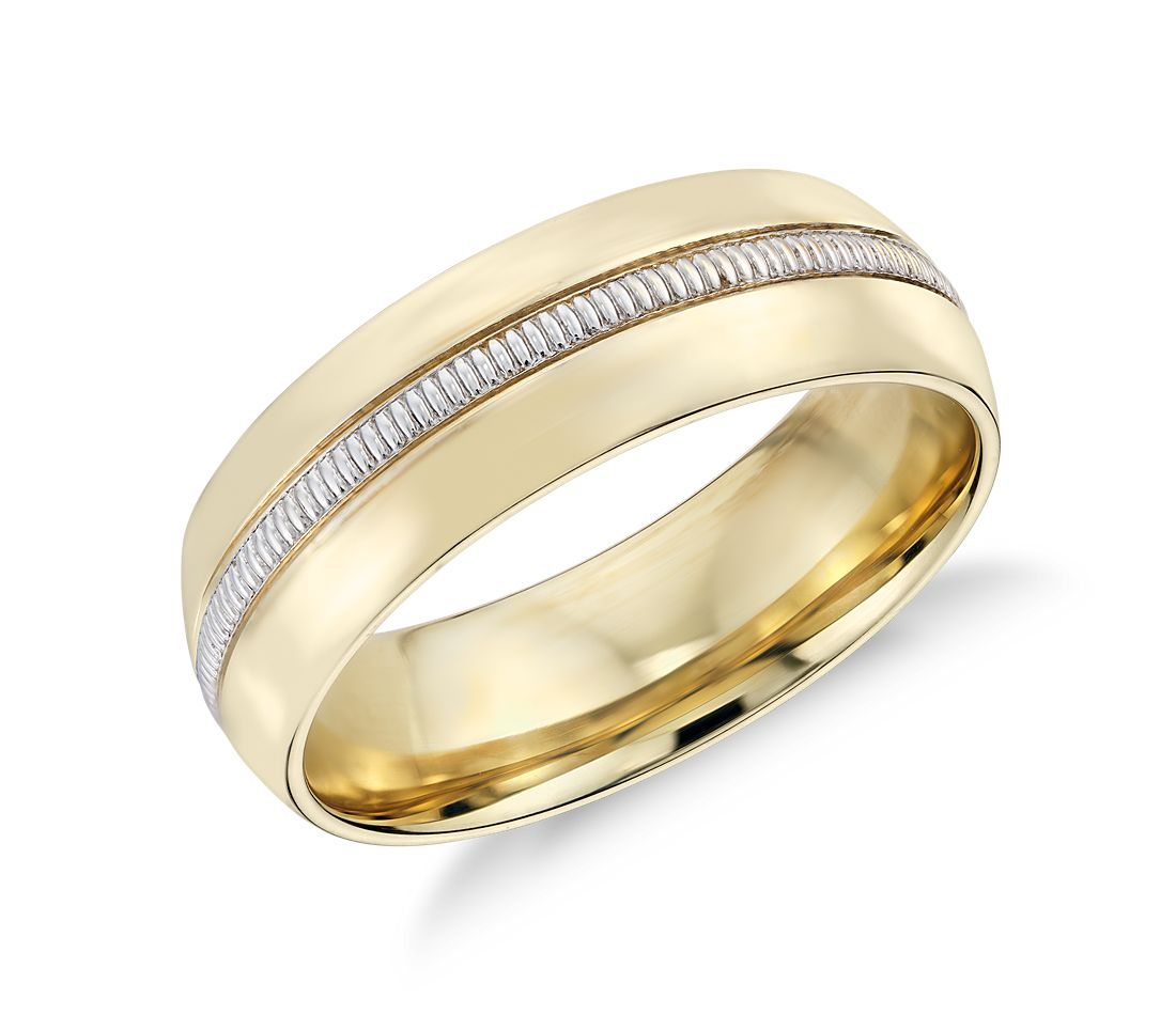 Colin Cowie Men 39 S Milgrain Inlay Wedding Ring In 18k Yellow Gold And Plat