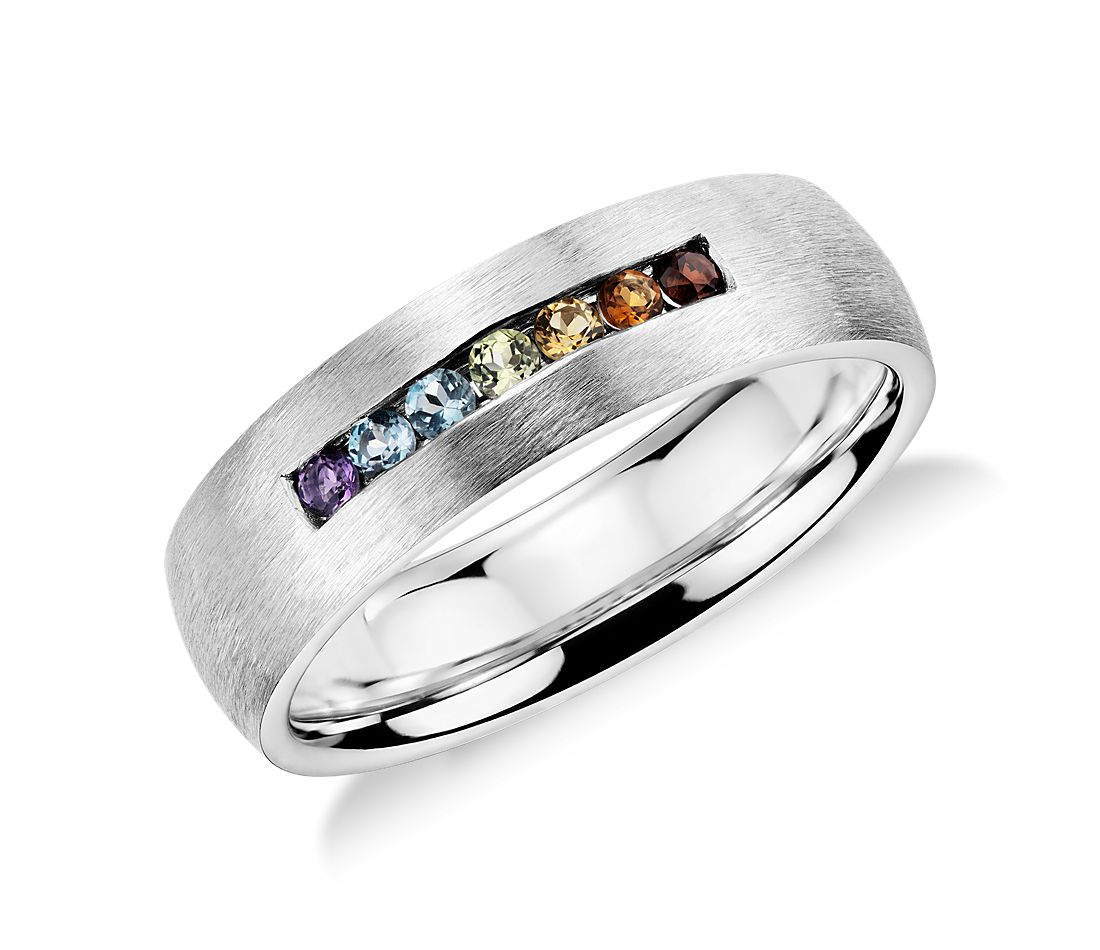 Colin Cowie Rainbow Channel-Set Wedding Ring In 18k White