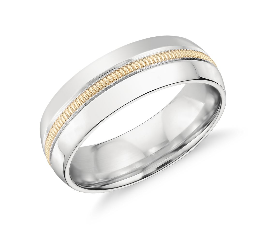 colin cowie milgrain inlay wedding ring in platinum and