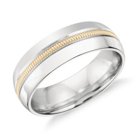 Alliance avec incrustation millegrain Colin Cowie en platine et or jaune 18 carats (6 mm)