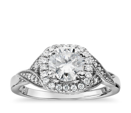 Colin Cowie Noble Twist Diamond Halo Engagement Ring in Platinum (1/4 ct. tw.)