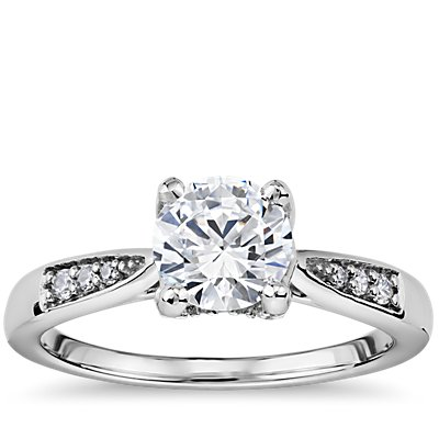 Colin Cowie Tapered Petite Diamond Engagement Ring in Platinum (1/5 ct. tw.)