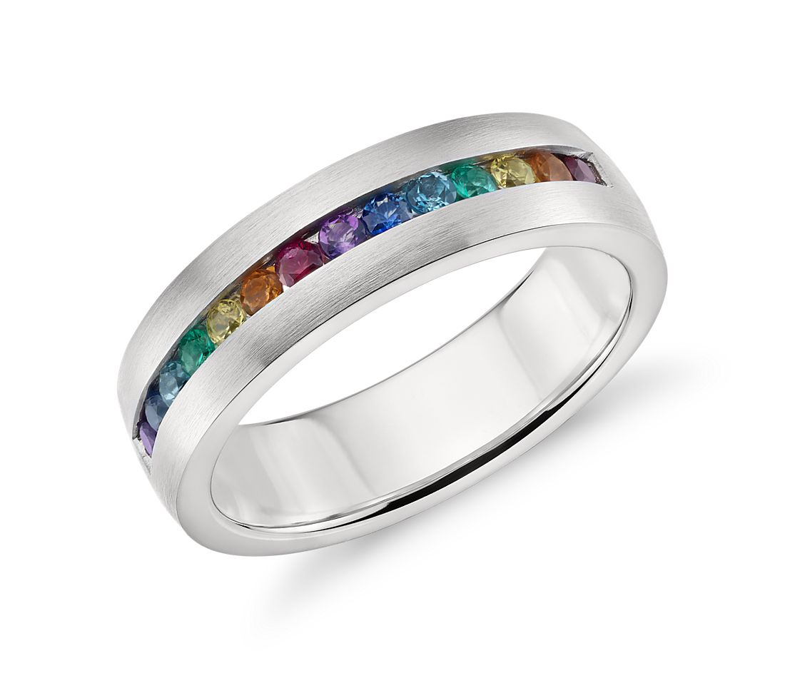 colin cowie rainbow channel set ring in 18k white gold 6mm - Rainbow Wedding Rings