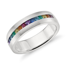 NEW Colin Cowie Rainbow Channel-Set Ring in 18k White Gold (6mm)