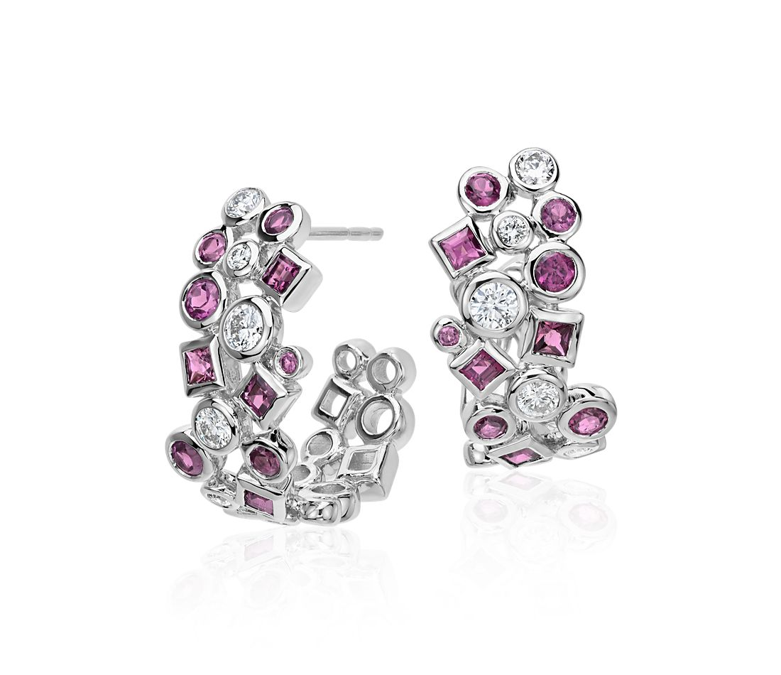 Rhodolite Garnet And Diamond Earrings In 14k White Gold