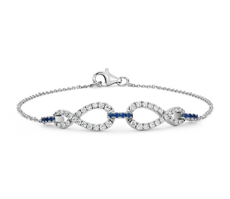 Colin Cowie Diamond and Sapphire Infinity Chain Bracelet in 14k White Gold