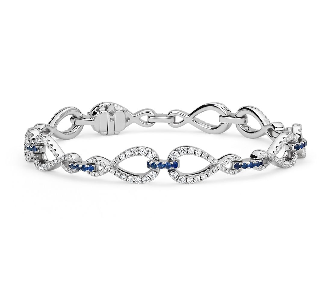Colin Cowie Diamond and Sapphire Infinity Bracelet in 14k White Gold