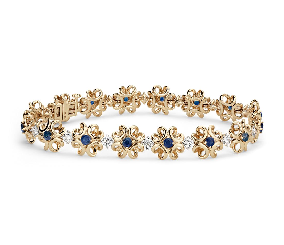 Colin Cowie Sapphire and Diamond Bracelet in 14k Yellow Gold